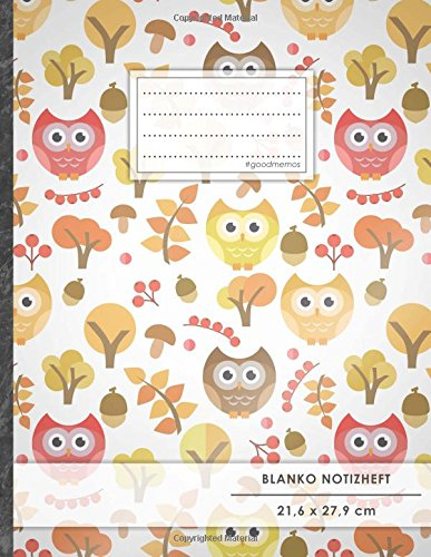 "A4-Format, 100+ Seiten, Soft Cover, Register, ""Retro Owls"" • Original #GoodMemos Blank Notebook • Perfekt als Zeichenbuch, Skizzenbuch, Sketchbook, Leeres Malbuch (Zeichen Es Ist Ein Mädchen)"