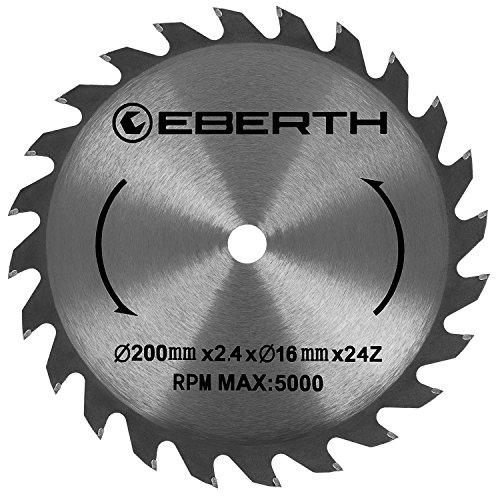 EBERTH Hartmetall-Kreissägeblatt für Holzschnitte (200 x 2,4 x 16 mm, 24 Zähne, lange Lebensdauer)
