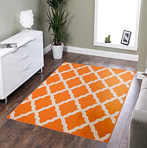 Ottomanson Glamour Collection Contemporary Moroccan Trellis Design Kids Lattice Area (Non-Slip) Kitchen and Bathroom Mat Rug, Orange, 3'3