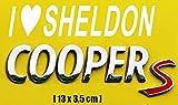 Aufkleber I LOVE SHELDON COOPER JDM Auto OEM Tuning 13 x 3,5 cm (Weiß)