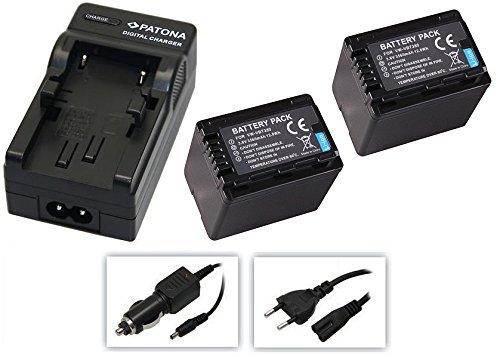 4in1-SET für die Panasonic HC-V160EG und HC-V180EG Camcorder --- 2 Akkus für VBT380 (3560mAh) + Schnell-Ladegerät für Digitalkamera / Camcorder incl. KFZ-Lader (12V) inkl. PATONA Displaypad