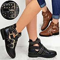 Fashion Thirsty Ladies Womens Ankle Boots Studded Chelsea Buckle Cut Out Low Heel Biker Shoes