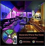 LED Strip 5M LED Streifen 150LEDs Selbstklebend, Fernbedienung Led stripes Lichtband Leiste Band Beleuchtung mit 20 Farben 22 Beleuchtungsmodi RF Fernbedienung