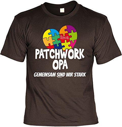 Familien/Opa/Sprüche/Spaß-Shirt/Fun-Shirt: Patchwork Opa gemeinsam sind wir stark geniale Geschenkidee Braun