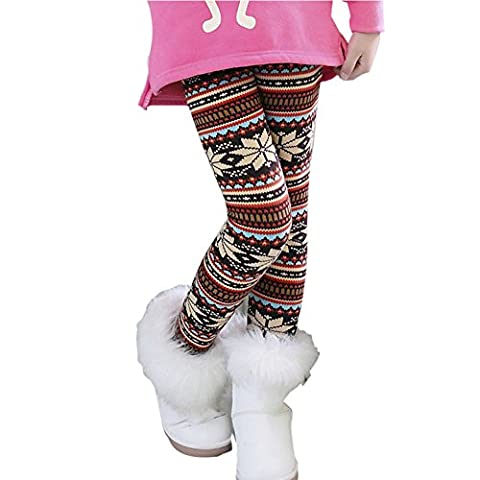 MORESAVE Kinder Mädchen Schneeflocke Fleece Gefüttert Leggings Winter Stretchy Hosen 1-9Y