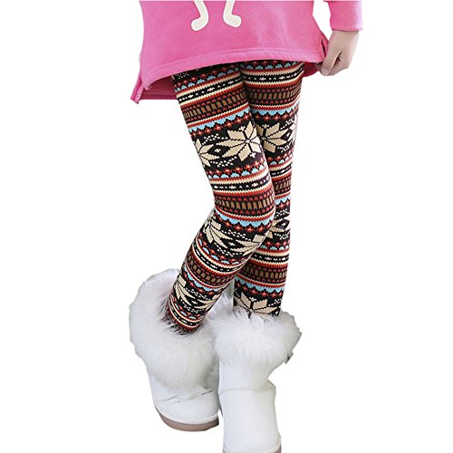 Hankyky Baby Kinder Fleece Hosen Mädchen Leggings Strumpfhosen Girls Trainingshose Herbst Winter Warm Pants(95-150cm/2-12 Jahre) (Shorts Fleece Elastische Taille)