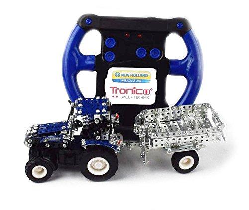 Tronico 09561 - Metallbaukasten Traktor New Holland T5-115 mit Kippanhänger und Fernsteuerung, Maßstab 1:64, Micro Serie, blau, 454 Teile*