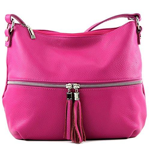modamoda de - ital. Ledertasche Damentasche Umhängetasche Tasche Schultertasche Leder T159 Pink