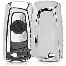 kwmobile Funda para llave con control remoto de 3 botones para coche BMW (solamente Keyless Go) - protector de TPU para llave de auto en plateado brillante - cover para llave de coche de contacto