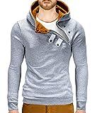 BetterStylz Kapuzenpullover PCOBZ Hoher Kragen Pullover Hoodie Sweatshirt div. Farben (S-XXL) (M, Grau Meliert/Caramel)