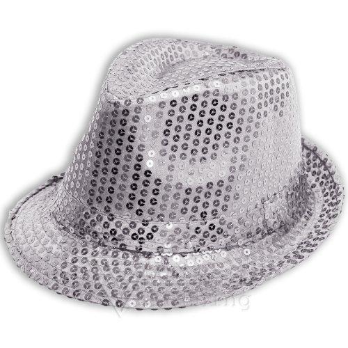 Sofias Closet Sequin Sparkle Fancy Dress Trilby Hat Fedora Dance MJ Silver