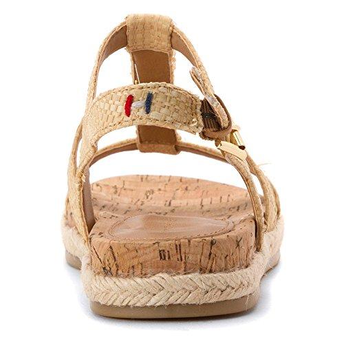 Tommy Hilfiger Tobi2 Damen Leder Gladiator Sandale Light Natural