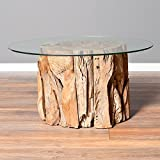 Couchtisch KAYU (Ø 80cm) aus massiven Teak Wurzelholz Wohnzimmertisch Glas rund