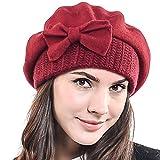 Frauen Barette 100% Wolle Baskenmützen Schicke Winter Mütze HY022 (Rotwein)