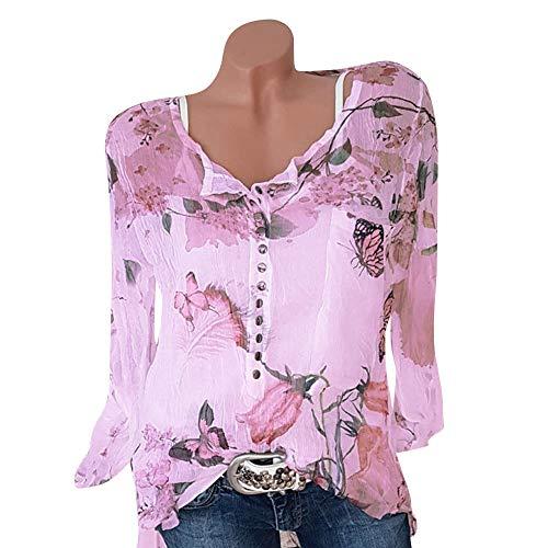 Mujer Camisa de Manga Larga con Cuello de Pico y Camisa de Gasa con Botones Impresos Florales Casuales de Gasa Blusa con Dobladillo Irregular Camiseta Primavera Verano Blusa riou