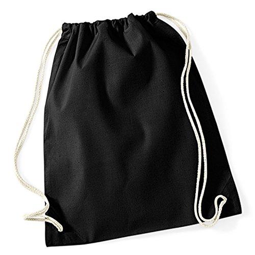 Baumwolle Kordelzug Gymnastikbeutel, Westford Mill Seil, Schließung natürlichen Alternative zu Polyester gymsacs 100% Baumwolle schwarz (Handtasche Schwarz Kooba)