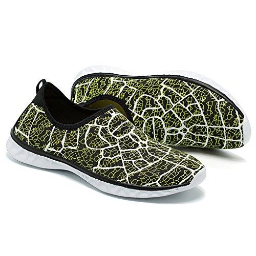 Hishoes Mujeres Hombre Material Transpirable Zapatos De Agua Ultraligeros Zapatos De Playa Elásticos Zapatos De Buceo Antideslizante Buceo Verde