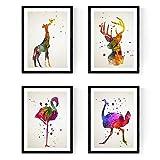 Nacnic Set de 4 láminas para enmarcar, Flamenco, Avestruz, Ciervo y Jirafa, Estilo Acuarela.Posters con imágenes de Animales, tamaño A4. Decoración de hogar. Papel 250 Gramos