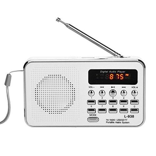 iMinker Mini-Digital-beweglicher FM Radio tragbares Lautsprecher MP3-Musik-Spieler TF/SD Karte USB-Scheiben-Hafen für PC iPod-Telefon mit LED-Anzeige und Akku (Weiß)
