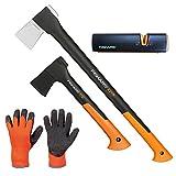 FISKARS© Set Spaltaxt X21 - L + Universalaxt X7 - XS + Xsharp Axt- und Messerschärfer + Handschuhe