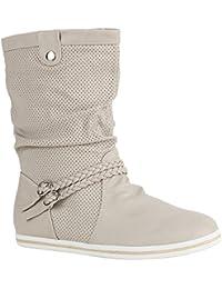 Damen Stiefeletten | Schlupfstiefel Flach | Stiefel Leder-Optik | Metallic Schuhe Boots | Trendy Übergangsschuhe | Flandell®
