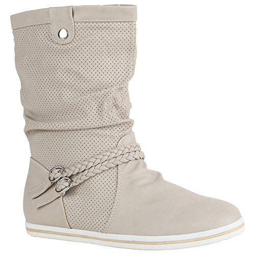 Bequeme Damen Stiefel Flache Schlupfstiefel Boots 151491 Creme Amares 38 Flandell