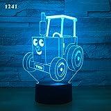 LANGNY Tracteur 3D, base noire: touche colorée + télécommande Moderne Lampe murale Éclairage Mural Lampes chevet Cuisine Escalier Chambre Couloir Art Déco...