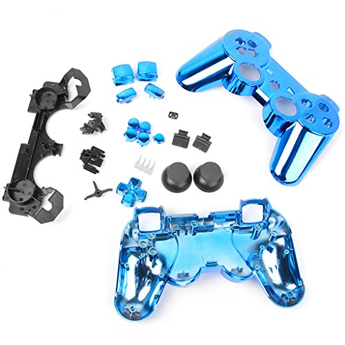 Metal Plated Schutzhuelle Gehaeuse+Tasten Knoepfe fuer Sony PS3 Controller - Blau Controller Ps3 Wireless