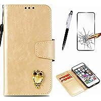 Handyhülle für Motorola Moto G6 2018 Hülle MISSDU Leder Flip Case Brieftasche Etui SchutzhülleTasche Cover Rhinestone Eule+Screen Protector + Touch Pen - Gold