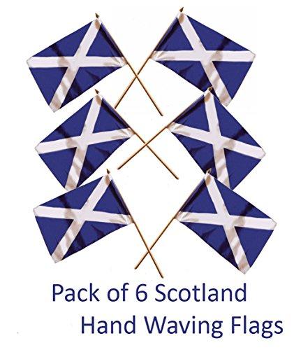 Scottish Flag (Schottland-Handflaggen / Schottische Unabhängigkeitsflagge mit Andreaskreuz, handgewoben, hochwertige Qualität, klein, 23 cm x 15 cm, inkl. Holzmast (30 cm), 6 Stück.)