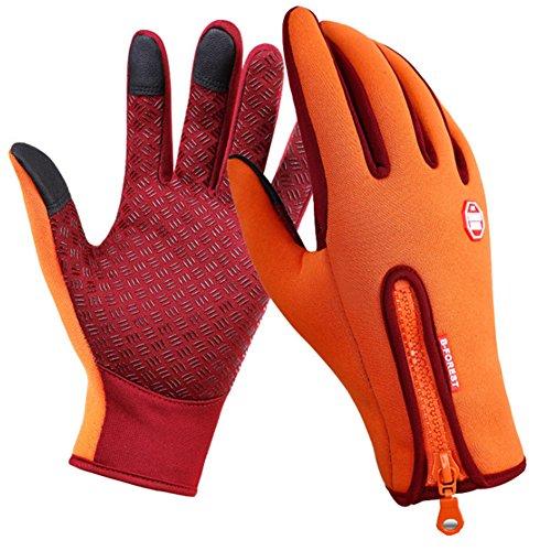 SWAMPLAND Anti-Rutsch Full Finger Fahrradhandschuhe Winddicht Wasserabweisend Touchscreen Handschuhe für Damen und Herren,Orange S
