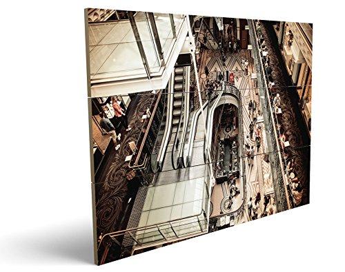 Shopping Mall, qualitatives MDF-Holzbild im Drei-Brett-Design mit hochwertigem und ökologischem UV-Druck Format: 100x70cm, hervorragend als Wanddekoration für Ihr Büro oder Zimmer, ein Hingucker, kein Leinwand-Bild oder Gemälde