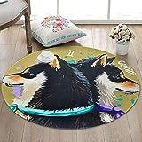 JIELUG Teppich Kinder Hund Runde Teppich Super Weich Gepolsterte Rutschfeste Teppich Pad Wohnzimmer Schlafzimmer, 100 cm