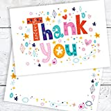 Thank You Cards - Funky Text A6 Postcard Style - Includes Envelopes (Pack of 10)