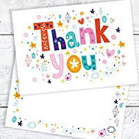 Olivia Samuel Thank You Cards - Funky Text A6 Postcard Style - Includes Envelopes (Pack of 10)