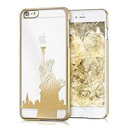 kwmobile Apple iPhone 6 Plus / 6S Plus Hülle - Handyhülle für Apple iPhone 6 Plus / 6S Plus - Handy Case in Freiheitsstatue Design Gold Transparent
