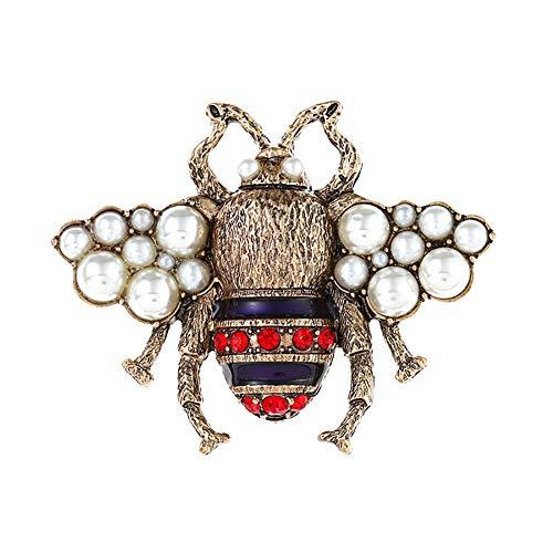 JUNGEN Brosche Legierung Retro dreidimensionale Perle Pin niedlich Biene Brosche Schals Kragen Pin Zubehör