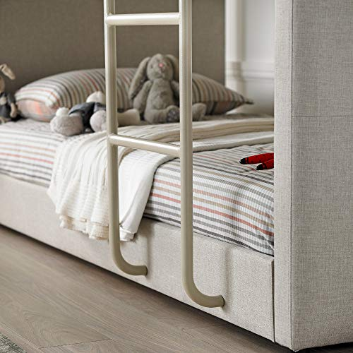 Kids Bunk Bed, Happy Beds Saturn Oatmeal Neutral Fabric Modern Twin Sleeper - 3ft Single (90 x 190 cm) Frame Only