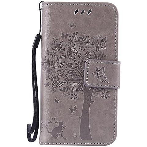 SZYT Handyhülle Handy-Smartphone Hülle Tasche für Apple iPhone 5 / 5S / SE / 5Se, 4.0 Zoll, Impressum Muster Katze und Baum mit schwarzem Griff Grau