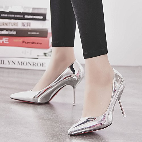 HooH Femmes Stiletto Escarpins Pointed Toe Mariage Demoiselle d'honneur Escarpins Slip On Argent