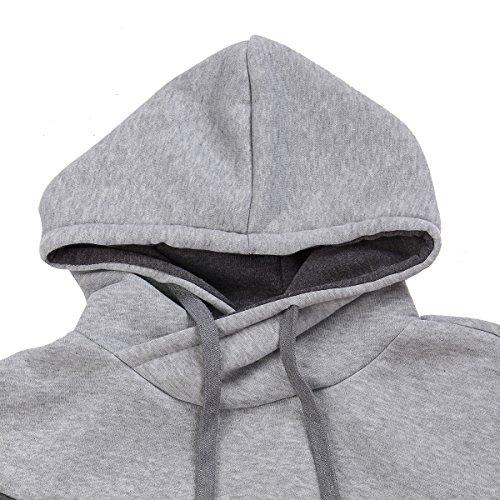 MODCHOK Herren Hoodie Pulli Pullover Hoody Kapuzenpullover Sweatshirt Kaputze Sweatjacke Hemd Grau-Dunkelgrau-Brau