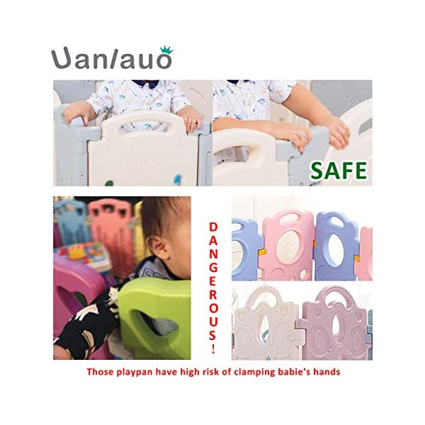 Foldable Baby Playpen Kids Activity Centre Safety Play Yard Home Indoor Outdoor Grey Uanlauo 🥉FOLDABLE & PORTABLE: Easy to storage and can be fold outdoor/indoor; Sturdy holding Rubber anti-slip pad so the yard won't go sliding around. 🥉MOM'S LIFESAVER: Keep baby safe in the baby gate there play centre when mom/dad needs to cook, clean up, do some housework, etc. 🥉Safty&Durable:BPA free Give your baby the closest contact, HDPE Material is more durable. 4