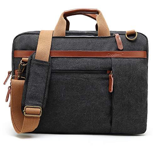 CoolBell umwandelbar Laptop Tasche Messenger Bag Herren Aktentasche Umhängetasche Multifunktionale Businesstasche Reisen Rucksack passend für 17-17,3 Zoll MacBook Notebook(Leinwand Schwarz)