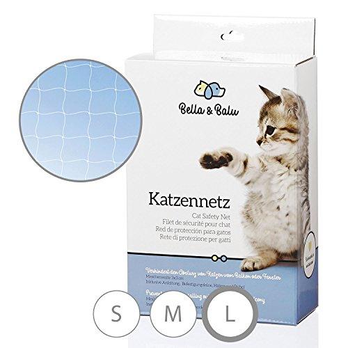 Bella & Balu Rete protettiva per gatti (trasparente | 10x4m) con tasselli, ganci, corda fissaggio e istruzioni di montaggio - Rete protettiva per gatti per balconi, terrazzo, finestra e giardino
