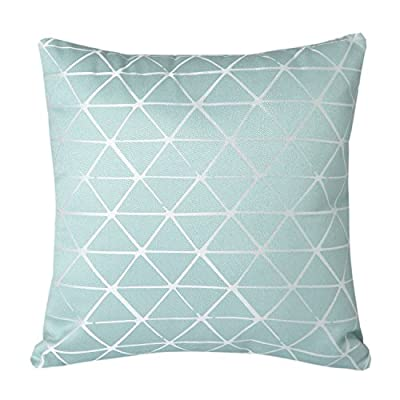 "Mika Home Jacquard Triangle Reversible Throw Pillow Cover Cushion Shell for 18X18"" Inserts Blue Cream - low-cost UK light shop."