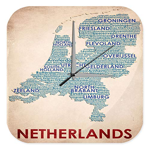 LEotiE SINCE 2004 Wanduhr mit geräuschlosem Uhrwerk Dekouhr Küchenuhr Baduhr Welt Reise Landkarte Niederlande Wand Deko Uhr Vintage Retro (Landkarte Wand Uhr Welt)