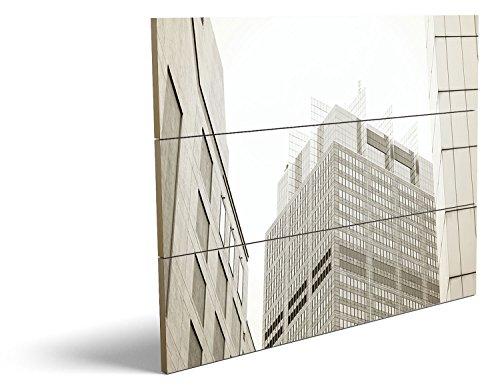 Skyline, qualitatives MDF-Holzbild im Drei-Brett-Design mit hochwertigem und ökologischem UV-Druck Format: 80x60cm, hervorragend als Wanddekoration für Ihr Büro oder Zimmer, ein Hingucker, kein Leinwand-Bild oder Gemälde