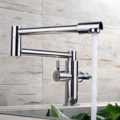 SHUYOU® Contemporary Extension Chrome Finish Brass One Hole Two Handles Kitchen Faucet