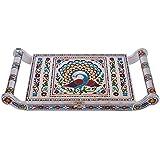 Balaji Arts Wooden Handmade Meenakari Peacock Design Decorative Serving Tray For Kitchen   Golden