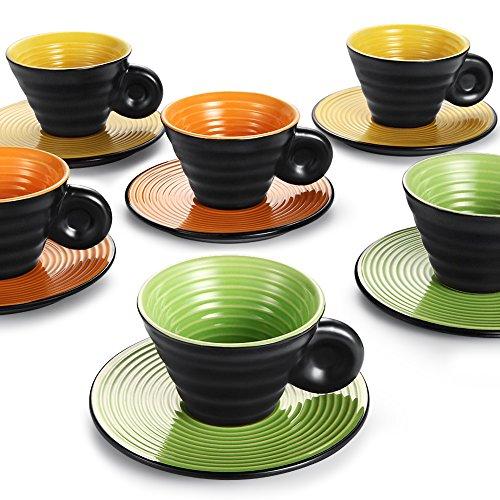 hoomeet Keramik Espresso Tassen und Untertassen, 6Stück, mit schwungvollem Linien orange + green + yellow Green Espresso-tasse